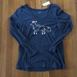 Loft M Christmas Grey long sleeve shirt w/ fox
